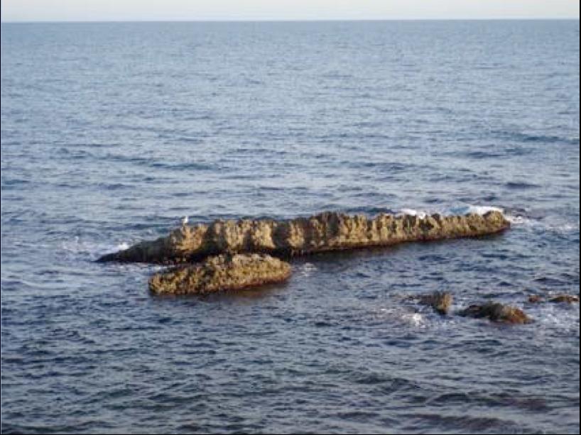 Les rochers émergés vus depuis la route